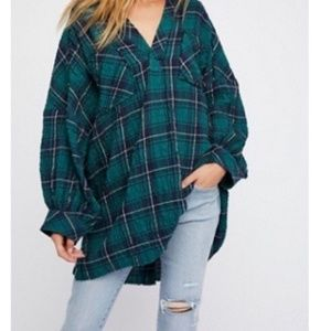 Free people plaid not your boyfriends tunic XS